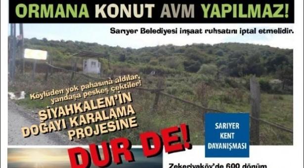 Sarıyer Kent Dayanışması: Zekeriyaköy'ü yağmalamaya son verin!