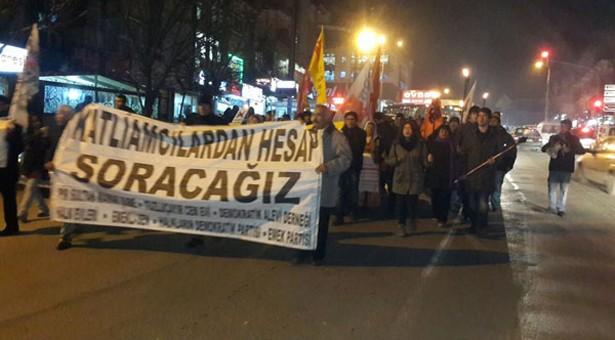 Dikmen ve Mamak halkı Maraş Katliamı'na karşı yürüdü